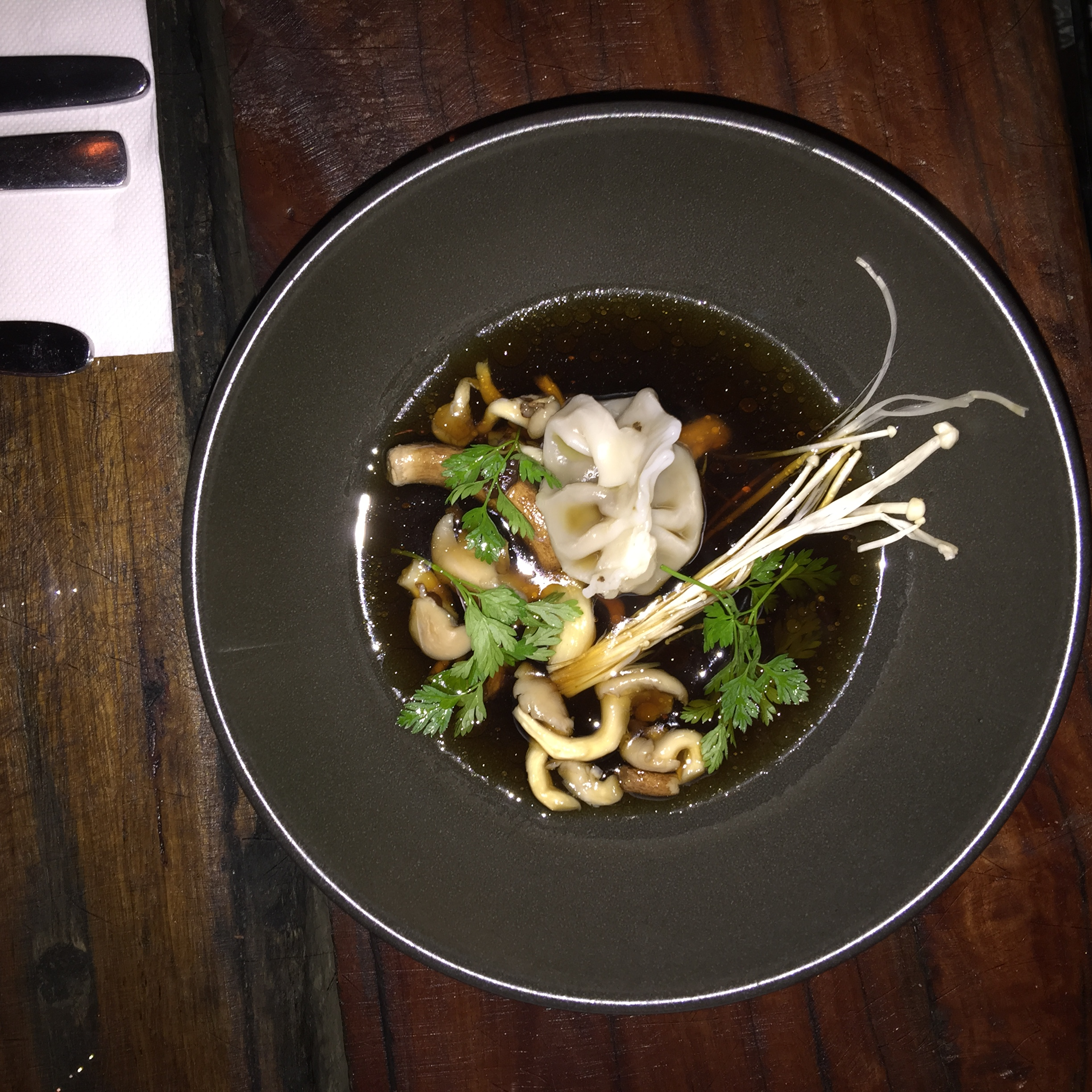 Mushroom Consommé with Abalone and Scallop Dumplings